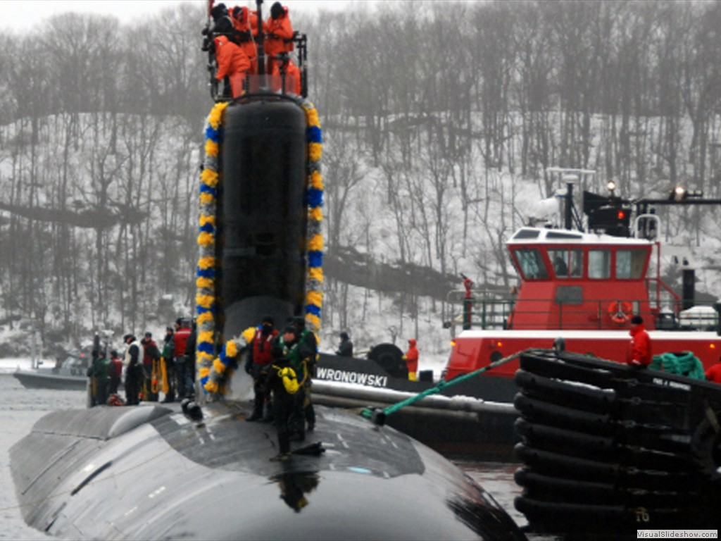 USS Virginia (SSN-774) arrives at Naval Submarine Base New London in Groton CT.